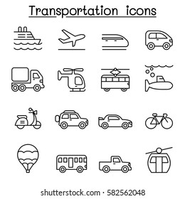 Transport & Logistic icon set in thin line style