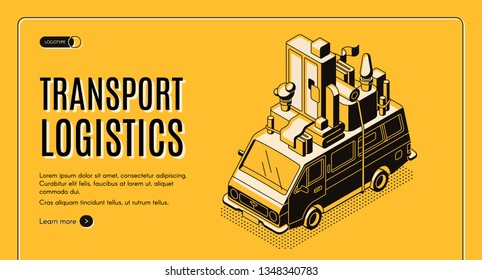Transport logistics isometric vector web banner with wan transporting home furniture on roof line art illustration. House moving and relocation service, door-to-door removals company landing page
