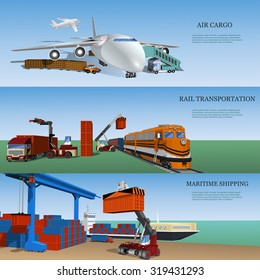 Transport logistics,set of maritime, rail and air transport delivery services.