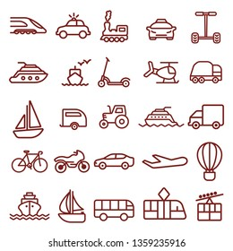 transport - minimal thin line web icon set. simple vector illustration outline. concept for infographic, website or app.