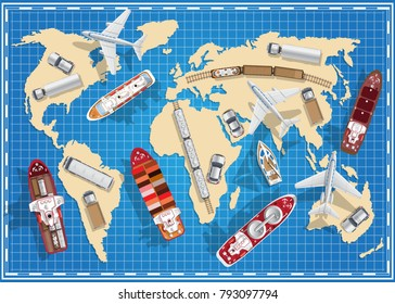 Transport on the map. View from above. Vector illustration