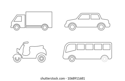 transport outline icon set - motorcycle,car,bus