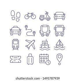 Transport outline icon vector set