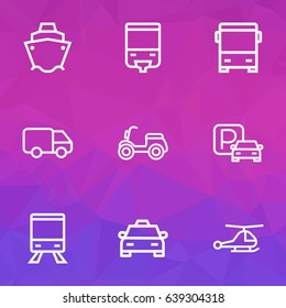 Transport Outline Icons Set. Collection Of Tram, Cargo, Taxi And Other Elements. Also Includes Symbols Such As Taxi, Auto, Scooter.