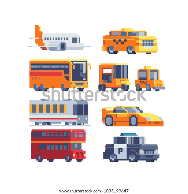 Transport Pixel Art Icons Police Car Stock Vector Royalty Free