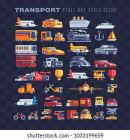 Transport pixel art icons set airplane truck taxi sports car motorcycle truck ship isolated vector illustration. Logo transport company. 8-bit. Game assets. Design for stickers embroidery mobile app.