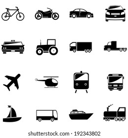 transport related icons for design or application.