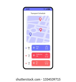Transport schedule smartphone interface vector template. Mobile app page white design layout. Tram, trolley, bus tracking screen. Flat UI for application. Public transport timetable. Phone display
