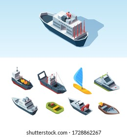 Transport sea isometric set. Cargo tanker with containers research vessel rescue boat pleasure high-speed inflatable boat, windsurfing with good sail liner fishing vessel. Vector isometric style.