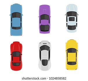 Transport set from above, top view. Cute cartoon cars with shadows. Modern urban civilian vehicles collection. Simple icon or logo. Realistic design. Flat style vector illustration.
