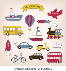Transport set in cartoon style