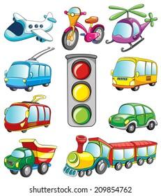transport set, vector illustration on white background