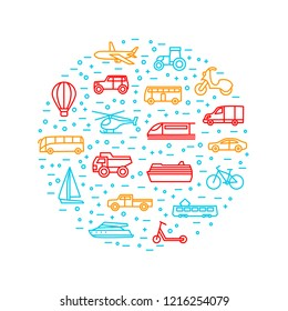 Transport Signs Thin Line Round Design Template Include of Car, Bus, Train, Plane, Bicycle and Truck. Vector illustration of Icons