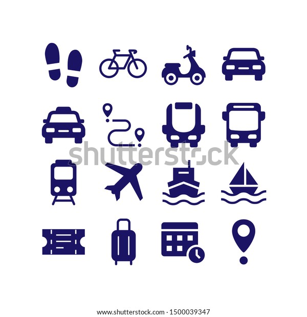 Transport silhouette icon vector set