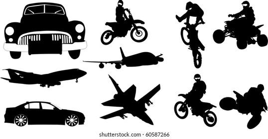 Transport silhouette set