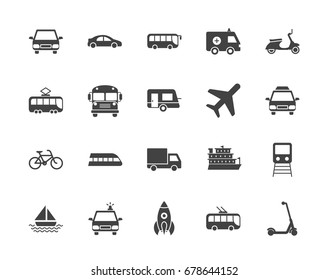 Transport silhouettes vector icons
