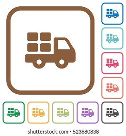 Transport simple icons in color rounded square frames on white background