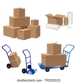 Transport or storage services. Packaging materials: cardboard boxes, stretch wrap, scotch tape, luggage carts. Vector illustration isolated on white background.