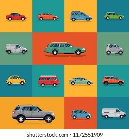 Transport themed vector banner, poster or background template with different types of cars in flat style. Ideal for transport, city life, car rental and environment themed graphic, web and motion desi