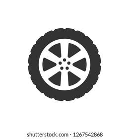 Transport tire icon. Vector illustration, flat design.