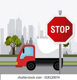 Transport, traffic on road and vehicles design, vector illustration.