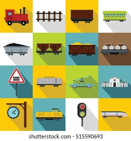 Transport train station icons set. Flat illustration of 16 transport train station vector icons for web design
