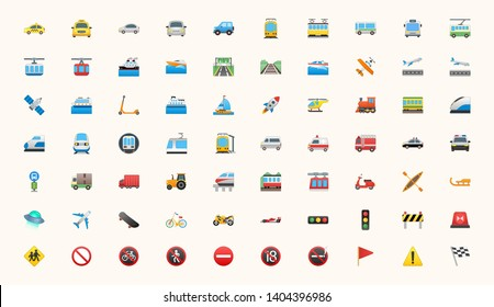 Transport, Transportation, Logistics, Delivery, Shipping, Railway, Airways, Ambulance, Emergency car symbols, emojis, emoticons, flat style vector illustration icons set, collection.
