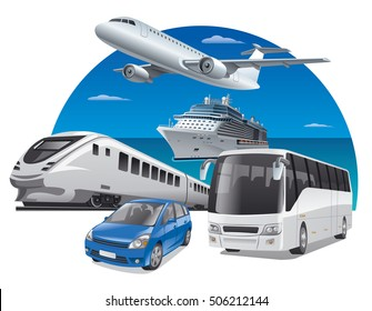 transport for travel, car, train, bus, cruiser and airplane