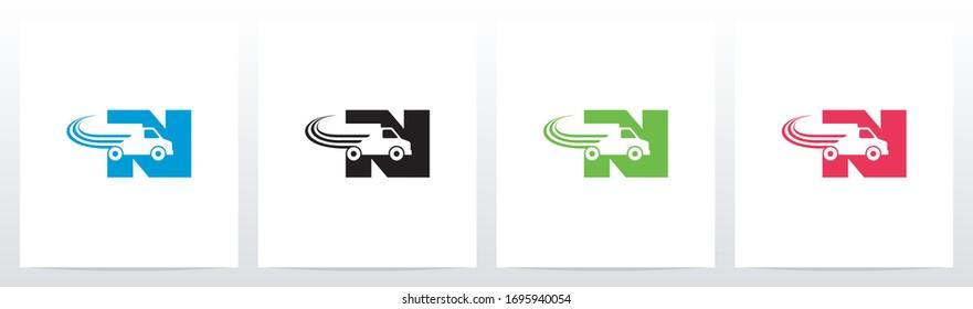 Transport Truck On Letter Logo Design N