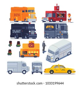 Transport trucks pixel art icons set police van, swat truck, special squad vehicle, food track, taxi. Logo transport company. 8-bit. Game assets. Isolated vector illustration. Design for stickers, app