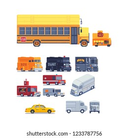 Transport trucks pixel art icons set police van, swat truck, food track, taxi. Logo transport company. 8-bit. Game assets. Isolated vector illustration. Design for stickers, app