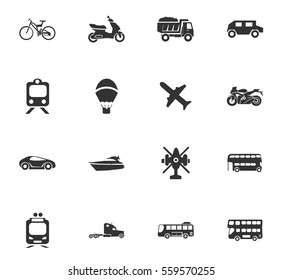 transport types vector icons for user interface design