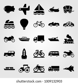 Transport vector icon set. airplane, bus, truck and sea scooter
