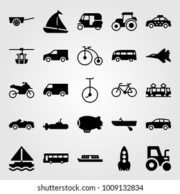 Transport vector icon set. boat, zeppelin, aircraft and car