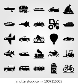 Transport vector icon set. can, pickup truck, tractor and jeep