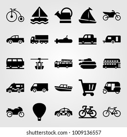 Transport vector icon set. car, watering can, fire truck and pickup truck