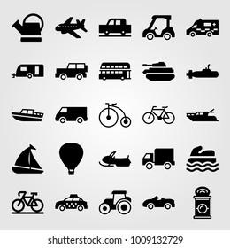 Transport vector icon set. caravan, submarine, taxi and golf