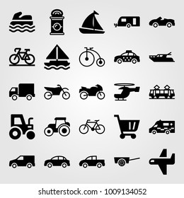 Transport vector icon set. caravan, bicycle, lorry and ambulance