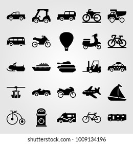 Transport vector icon set. dumper, aeroplane, taxi and caravan