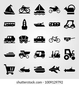 Transport vector icon set. forklift, rocket, golf car and aeroplane