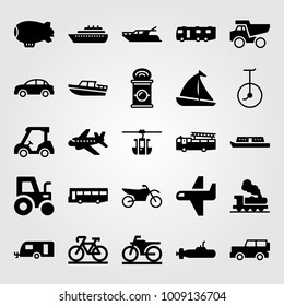 Transport vector icon set. golf car, yatch, can and truck