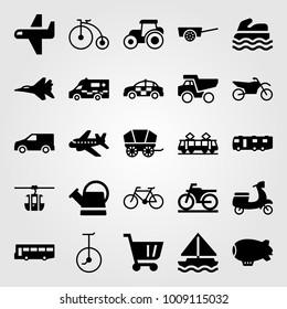 Transport vector icon set. jet, police car, tram and dumper