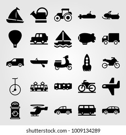 Transport vector icon set. motorcycle, air balloon, watering can and caravan