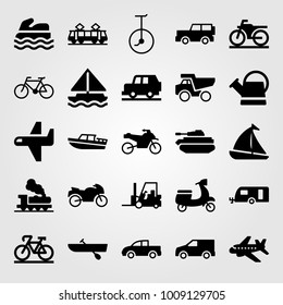 Transport vector icon set. rowing, motorbike, truck and forklift