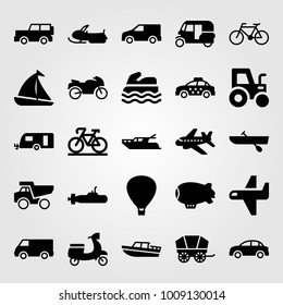 Transport vector icon set. rowing, sailboat, yatch and motorcycle