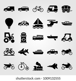 Transport vector icon set. rowing, aeroplane, sport bike and pickup truck