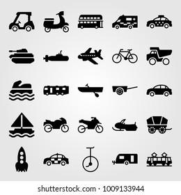 Transport vector icon set. rowing, tram, aeroplane and caravan