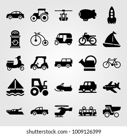 Transport vector icon set. snowmobile, tram, tractor and rocket