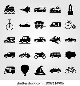 Transport vector icon set. sport car, van, tuk tuk and fire truck