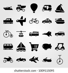 Transport vector icon set. sport car, cart, sport bike and jet